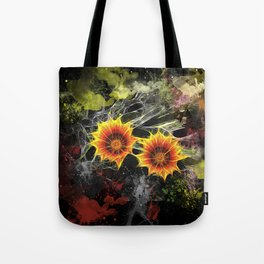 Glowing yellow daisies on black Tote Bag