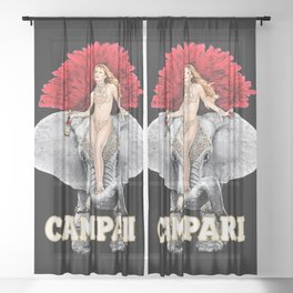 Vintage Campari Italian Bitters Girl and Elephant Advertisement Sheer Curtain