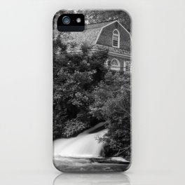 River and Church Black & White Landscape Rural Photograph iPhone Case