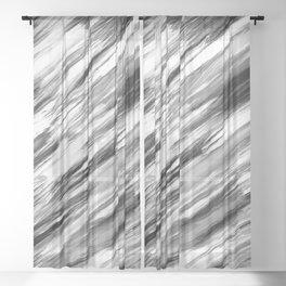 Black and White Painted Tie Dye Multi Media Cool Texture Trending Popular Modern Sheer Curtain