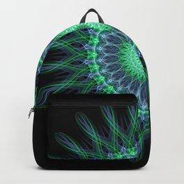 Glowing green and violet mandala Backpack