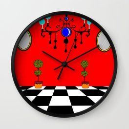 An Elegant Hall of Mirrors with Chandler and Topiary Wall Clock
