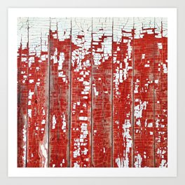 Chippy White Paint on a Red Barn Art Print
