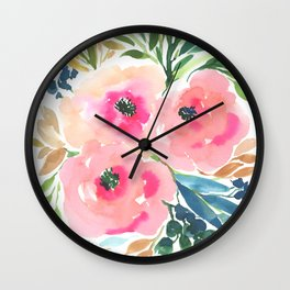 WATERCOLOR BLOOMING FLOWERS Wall Clock