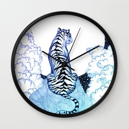Ombre Tiger Moon Wall Clock