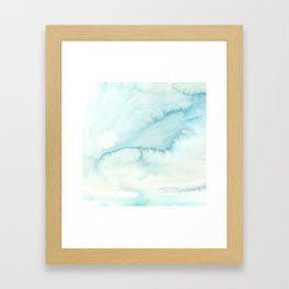 Abstract hand painted blue teal watercolor paint pattern Framed Art Print