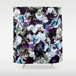 hummingbird paradise ethereal autumn flower pattern nfd Shower Curtain