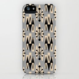Retro Mid Century Modern Atomic Triangles 734 Gray and Black iPhone Case