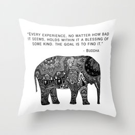 Buddha Quote with Henna Elephant Throw Pillow
