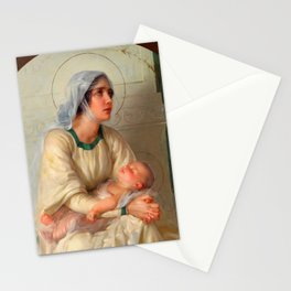 Madonna and Child Jesus with Angels Virgin Mary Art Stationery Cards