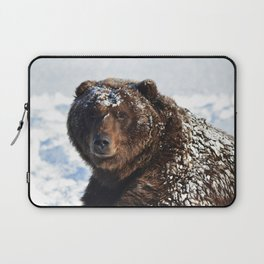 Alaskan Grizzly in Snow Laptop Sleeve