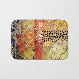 Orange Gold Burst Abstract Art Collage Bath Mat