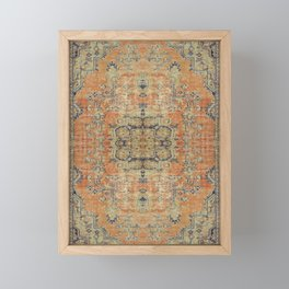 Vintage Woven Coral and Blue Kilim Framed Mini Art Print