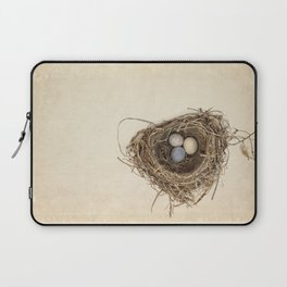 Bird Nest with Stone Eggs on Vintage Paper Laptop Sleeve