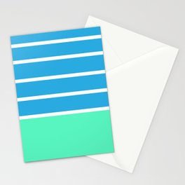 Stripes light blue pastel green and white Stationery Cards