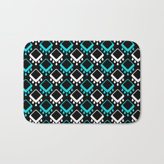 An abstract geometric pattern . Decoration white and turquoise on a black background . Bath Mat
