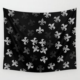 Black and White Fleur-Di-Lis Wall Tapestry
