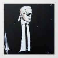 karl lagerfeld Canvas Prints featuring Karl Lagerfeld back in black by Alexis Olin
