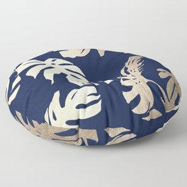 Simply Palm Leaves in White Gold Sands on Nautical Navy Floor Pillow
