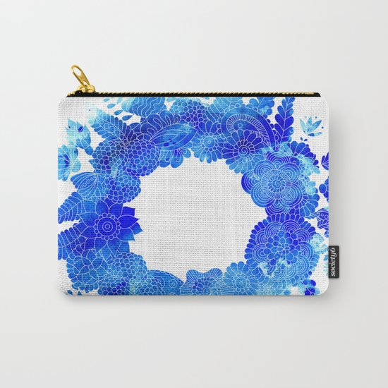 Blue Floral Pattern 01 Carry-All Pouch