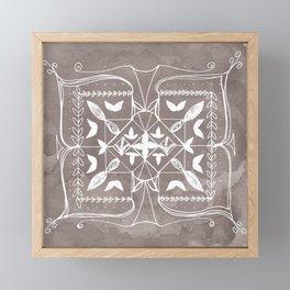 Square Mandala Butterfly Floral Rustic Line Drawing Boho Spirituality Yoga Focus Divine Meditation Framed Mini Art Print