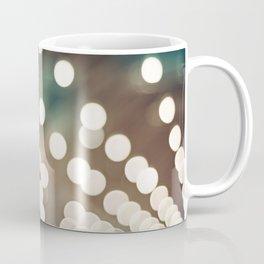 Teal Brown Abstract Light Photography, Turquoise Bokeh Sparkle Lights Art Print, Aqua Abstract Photo Coffee Mug
