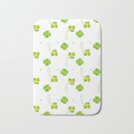 green clover leaf pattern watercolor Bath Mat