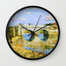 Classical Masterpiece 'Bridge Over the Stour'' by Frederick Childe Hassam Wall Clock