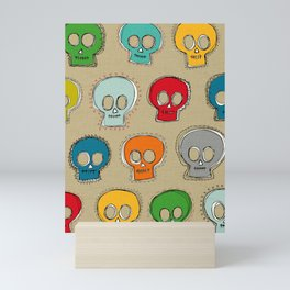 sew skully beige Mini Art Print