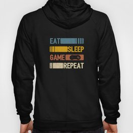 Video Game Eat Sleep Game Repeat Funny Vintage Retro Distressed Styled Unisex Shirt Hoody