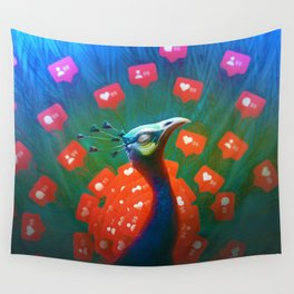 Social Media Peacock Wall Tapestry