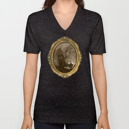 Dark Victorian Portrait: The Familiar Unisex V-Neck