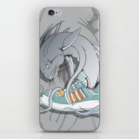 sneaker iPhone & iPod Skins featuring Sneaker Monster by Hexstatic