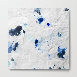 Accidental Blue and Black Ink Spot Abstract Art Metal Print