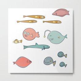 Colorful fish motive, with patterns, original artwork Metal Print