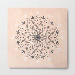Bohemian Floral Mandala on Rose Pink Marble Metal Print