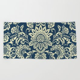 damask in white and blue vintage Beach Towel