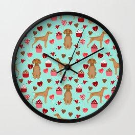 Vizsla valentines day dog breed gifts for dog lover unique dog pet portraits animal art Wall Clock