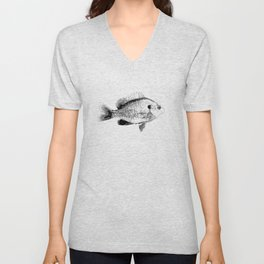 Black and White Bluegill Unisex V-Neck