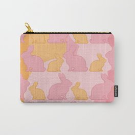Hunny Bunny - Pastel Pink Yellow Rabbits Design Carry-All Pouch