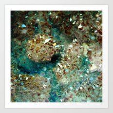 SPARKLING GOLD AND TURQUOISE CRYSTAL Art Print