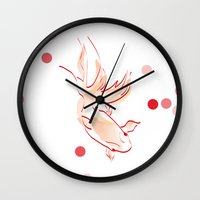 goldfish Wall Clocks featuring goldfish by 1 monde à part