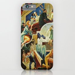 Classical Masterpiece 'The History of Water' by Thomas Hart Benton iPhone Case