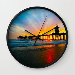 Sunset Huntington Beach Pier   Wall Clock