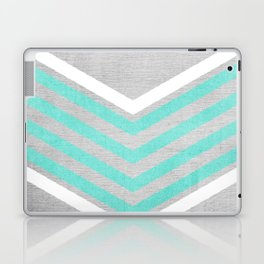 Teal and White Chevron on Silver Grey Wood Laptop & iPad Skin