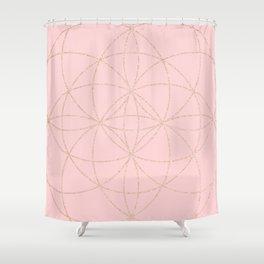 pink rose gold mandala pattern Shower Curtain