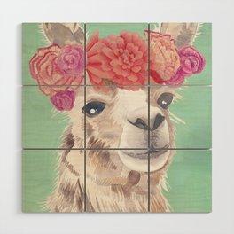 Flower Crown Llama Wood Wall Art