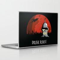 drunk Laptop & iPad Skins featuring Drunk Robot by Moysche Designs