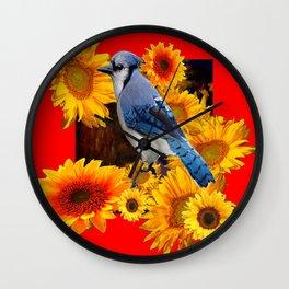 RED SUNFLOWERS  & BLUE JAY ART Wall Clock