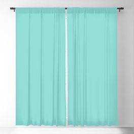 Aqua Blue Simple Solid Color All Over Print Blackout Curtain